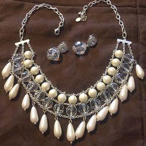 Cezanne faux pearl necklace, post earrings